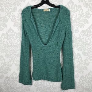 American Rag Blue Teal Bell Sleeve Knit Sweater S